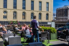 Customers Enjoying the Sun at The White Hart Hotel, Eatery and Coffee House, Boston